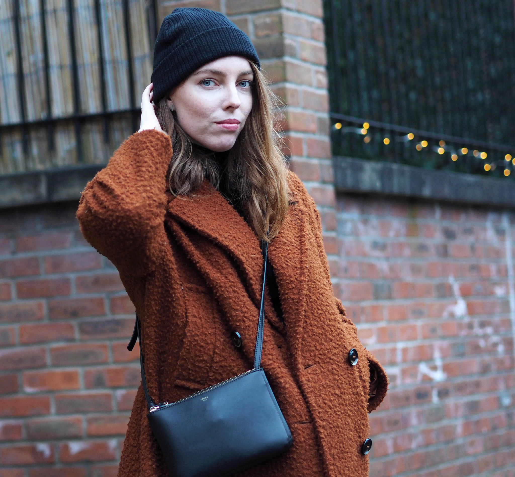 Topshop Boucle coat Christmas wishes