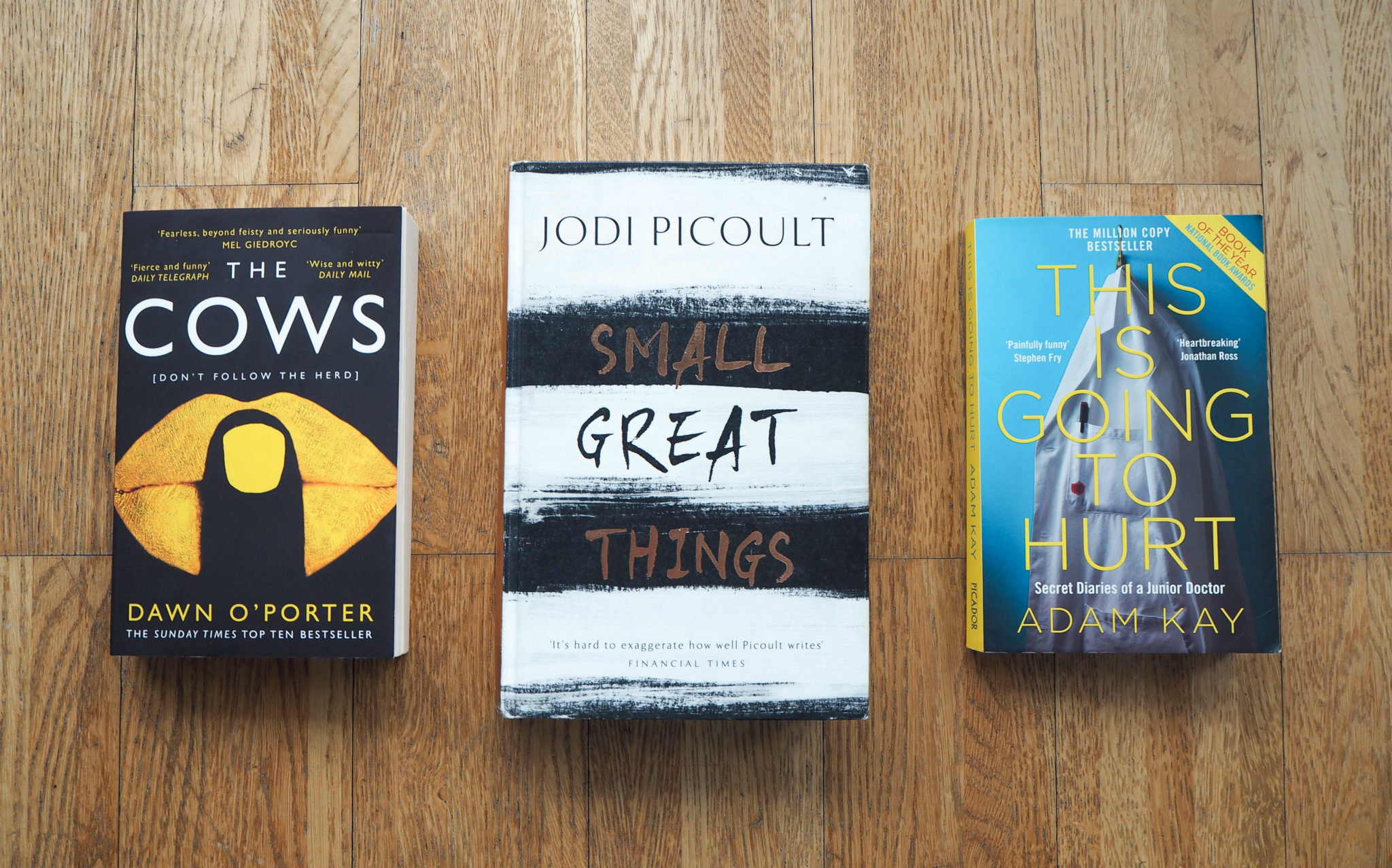 Lockdown Reading The Cows Dawn O'Porter Jodi Picoult Small Great Things This is Going to Hurt Adam Kay Lockdown Reading list