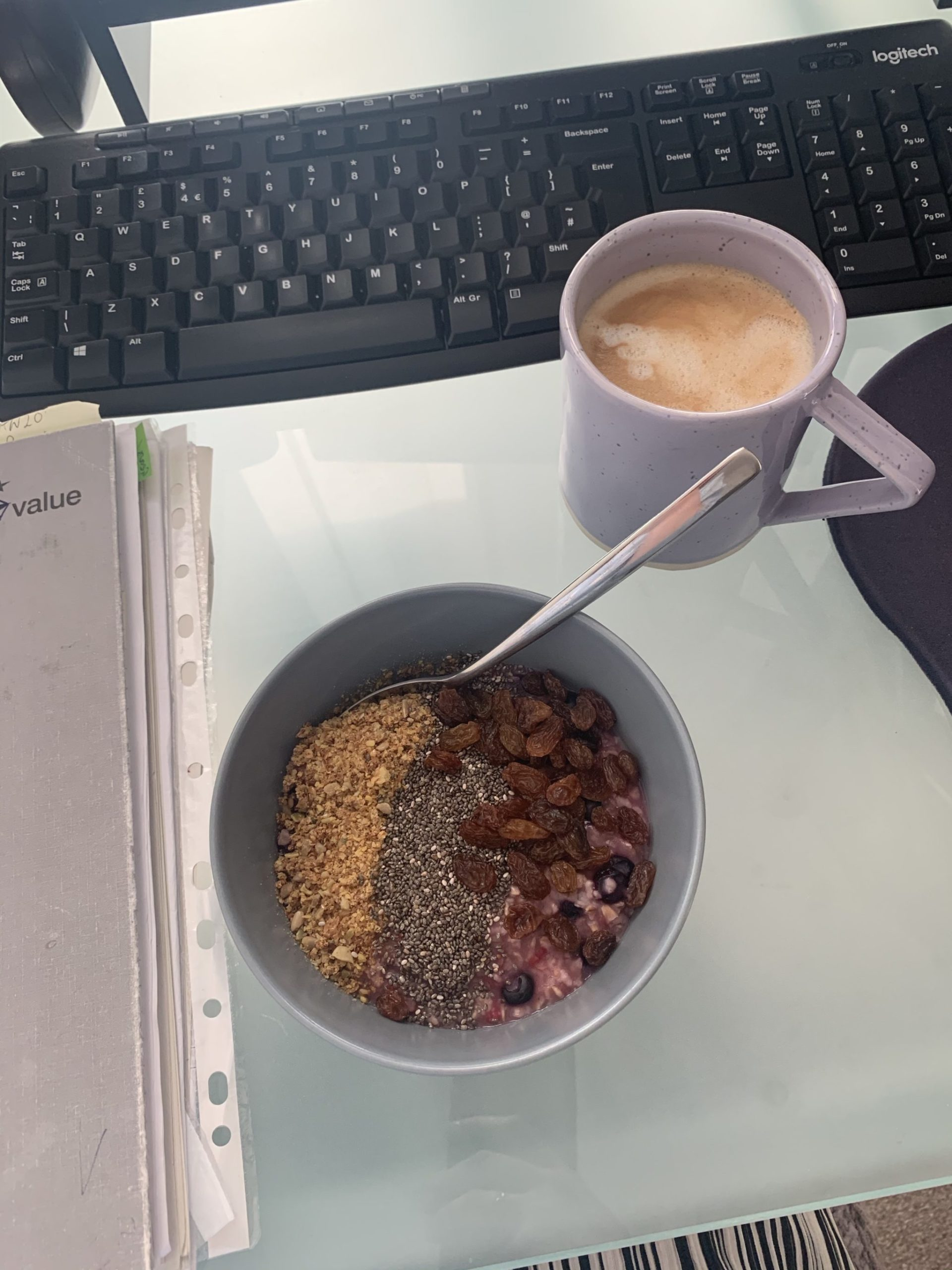 coffee and açai bowl