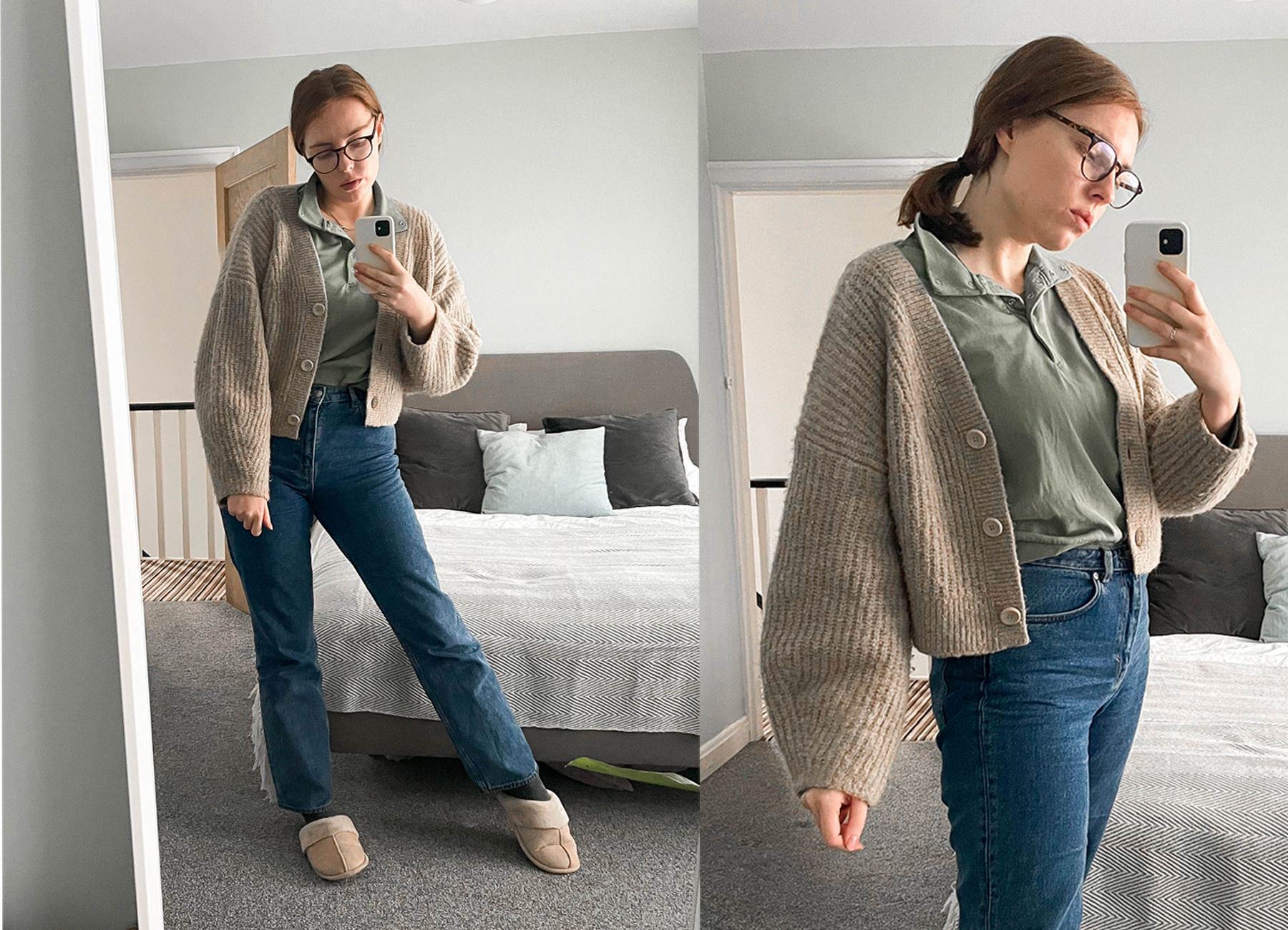 chunky beige cardigan and straight leg jeans work from home outfit shot