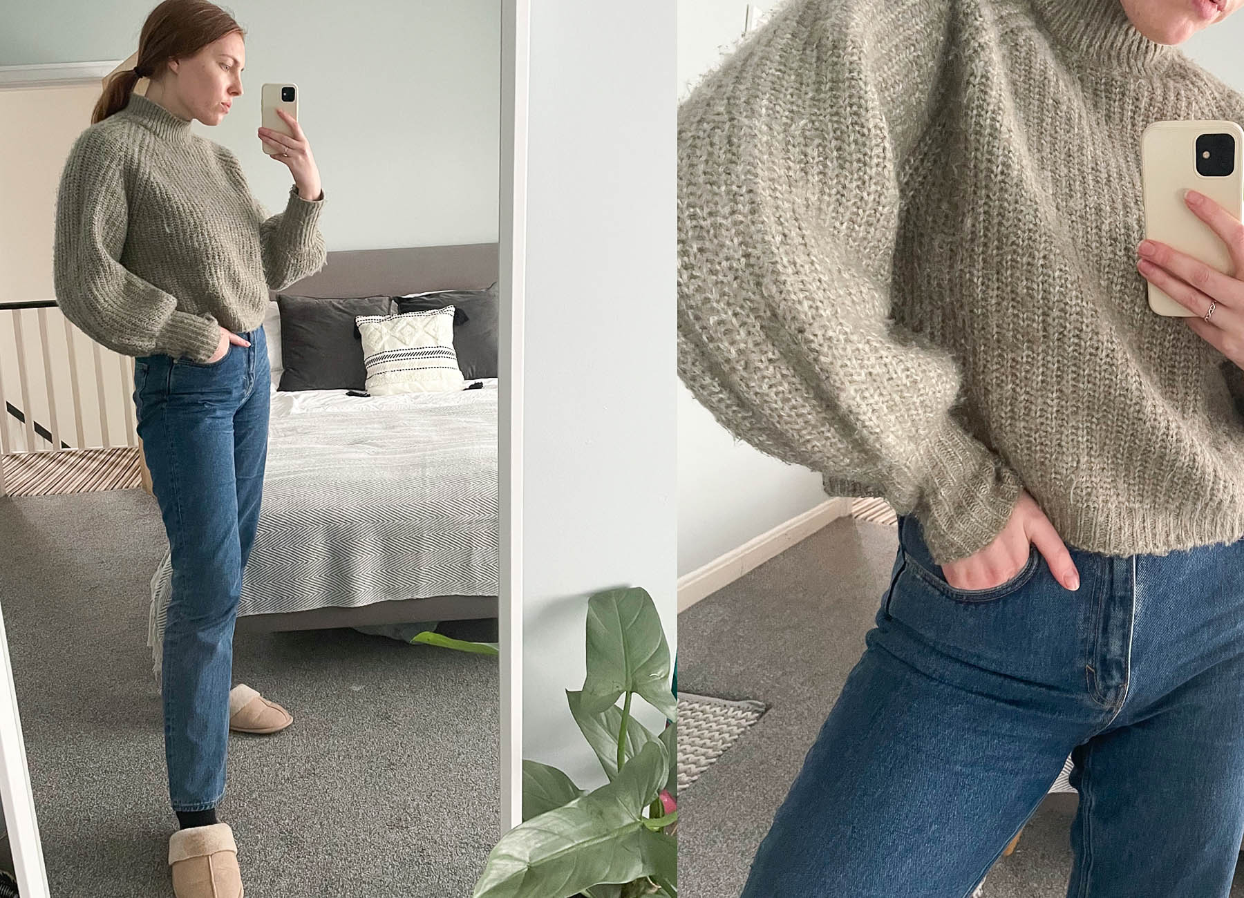 work from home wfh style outfits straight leg weekday voyage jeans and Zara sage knit