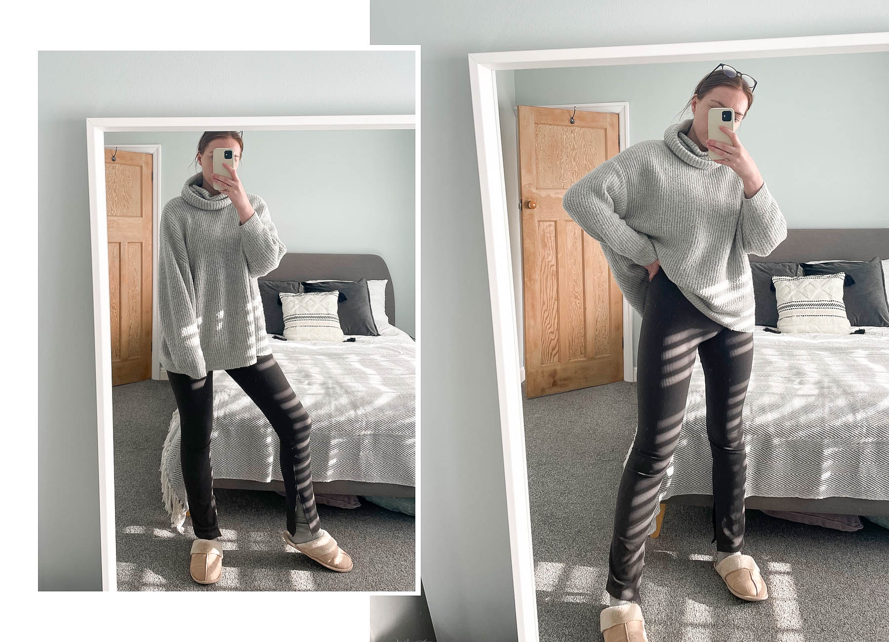 work from home styling Zara ribbed leggings and oversized knit