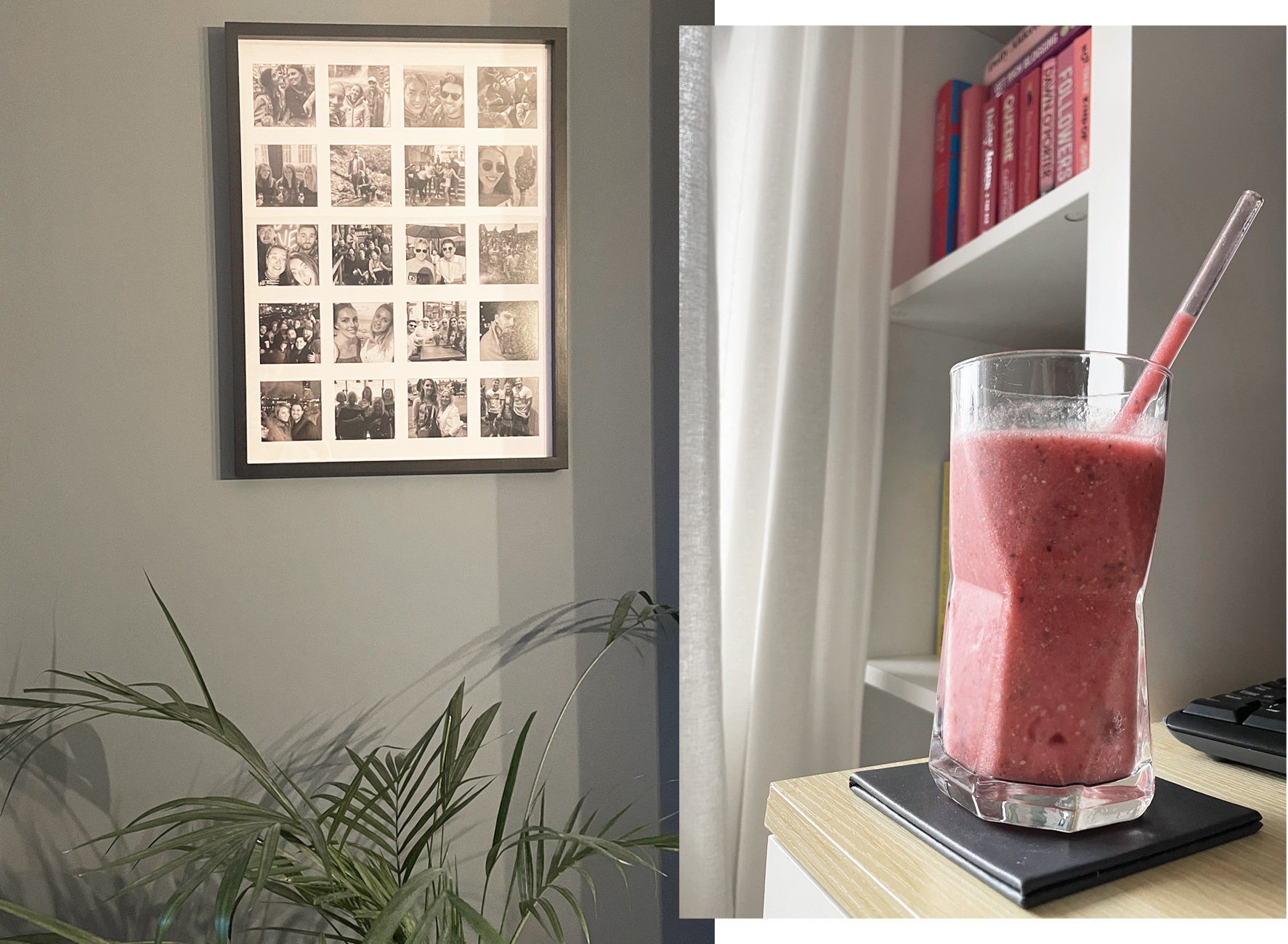fruit smoothie and home interior
