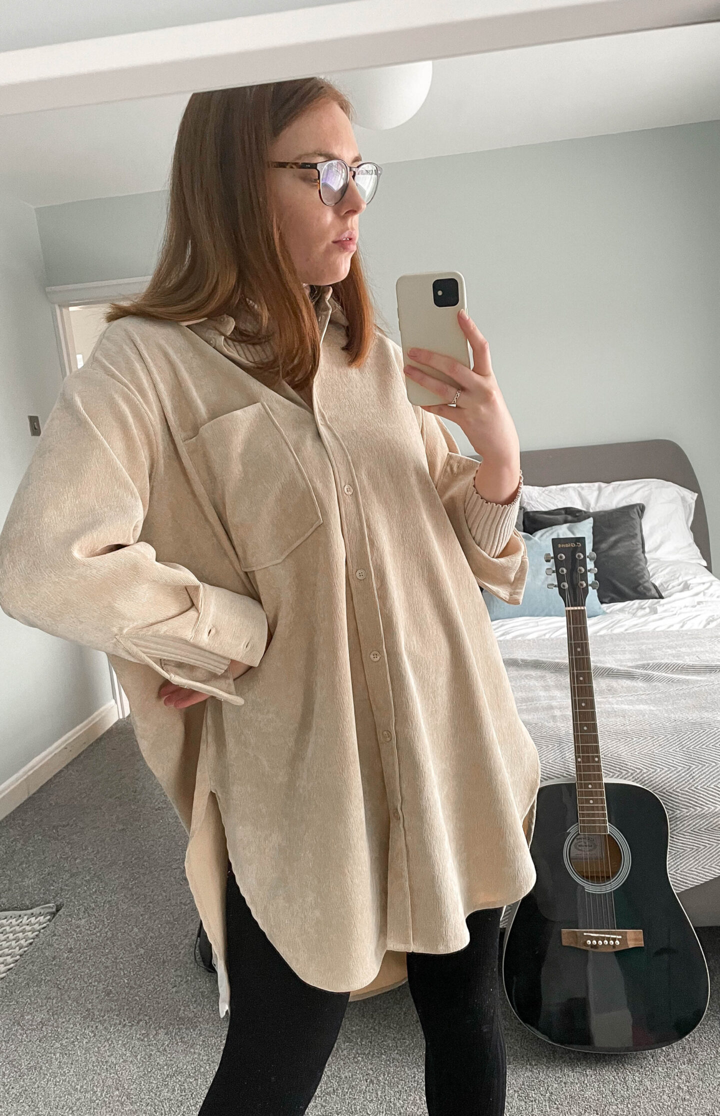 oversized corduroy shirt work from home fashion