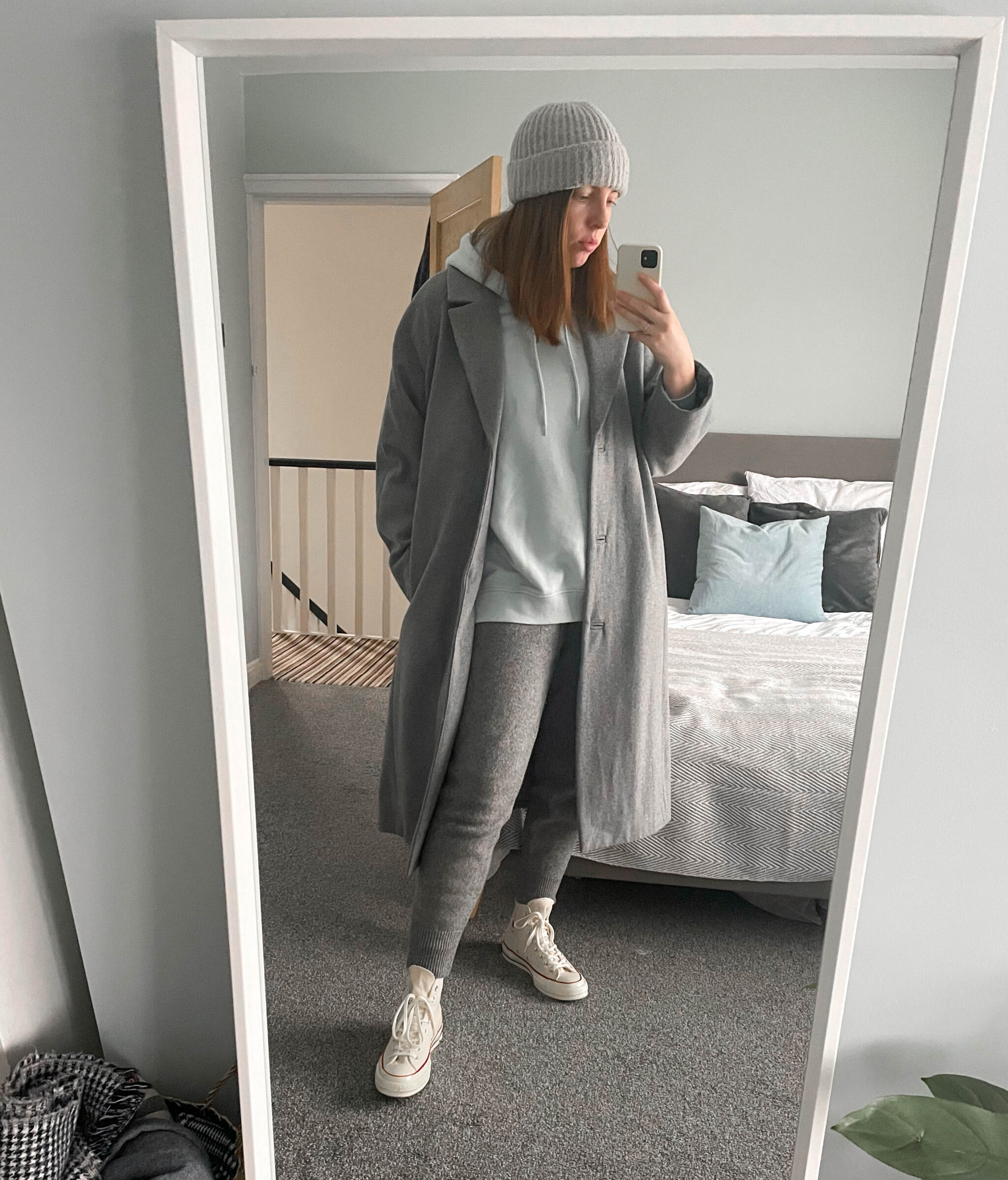 grey weekday coat lockdown style beanie off white converse and knitted lounge trousers