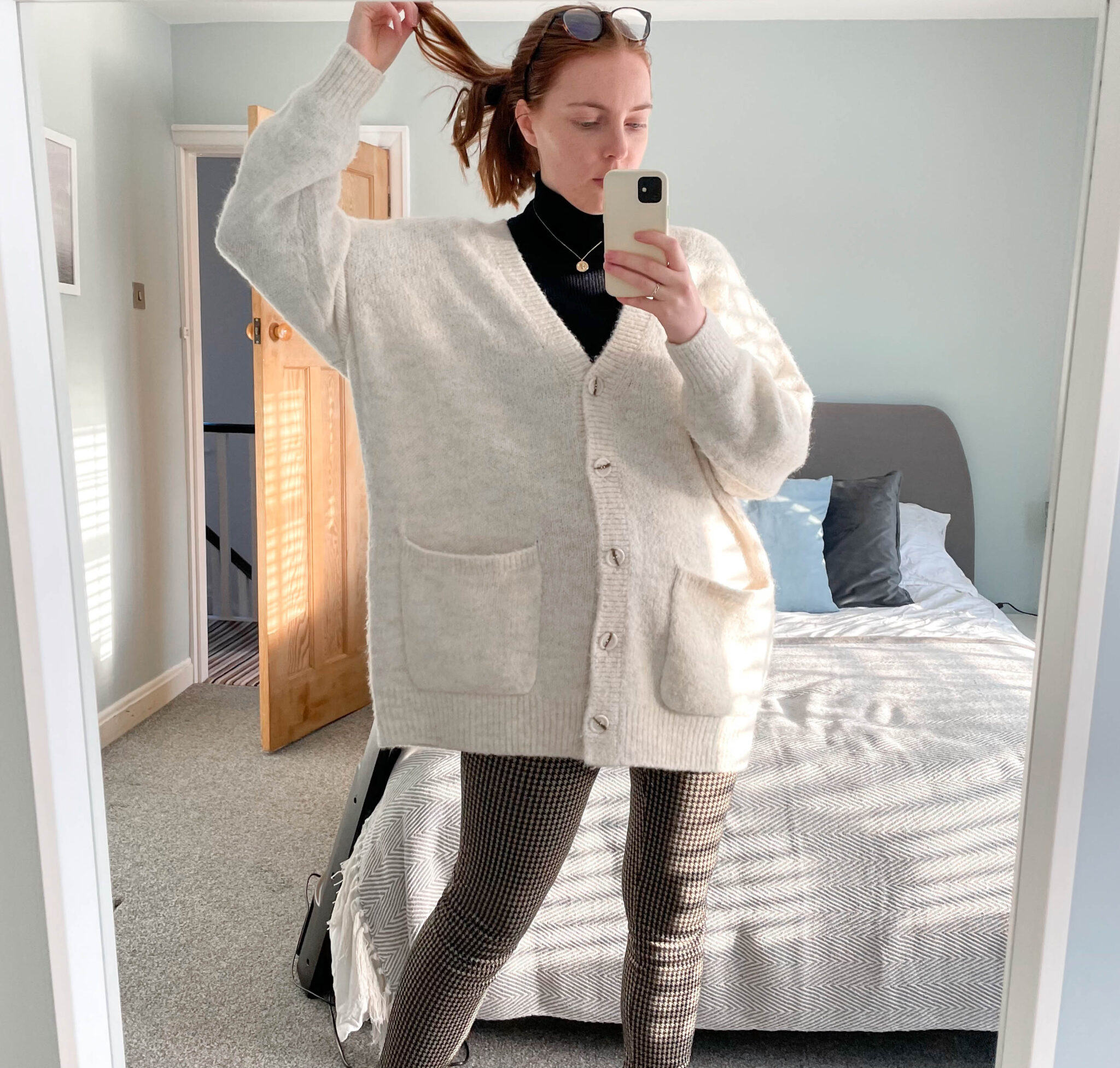 weekday neutral cardigan and houndstooth leggings
